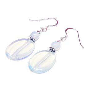 Ohrringe Ohrhänger Ohrschmuck aus Opalit synth. Mondstein 925 Silber