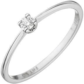 Solitär Damen-Ring mit Diamant Brillant 0,07 Ct., 585 Gold Weißgold Diamantring