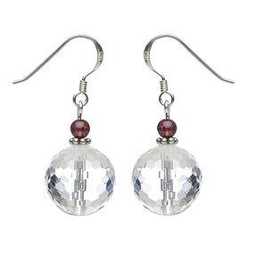 Ohrringe Ohrhänger aus Bergkristall & Granat, 925 Silber, Damen Vorschau