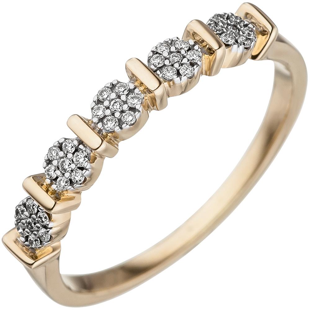 damen ring mit 35 diamanten brillanten 585 gold gelbgold diamantring goldring. Black Bedroom Furniture Sets. Home Design Ideas