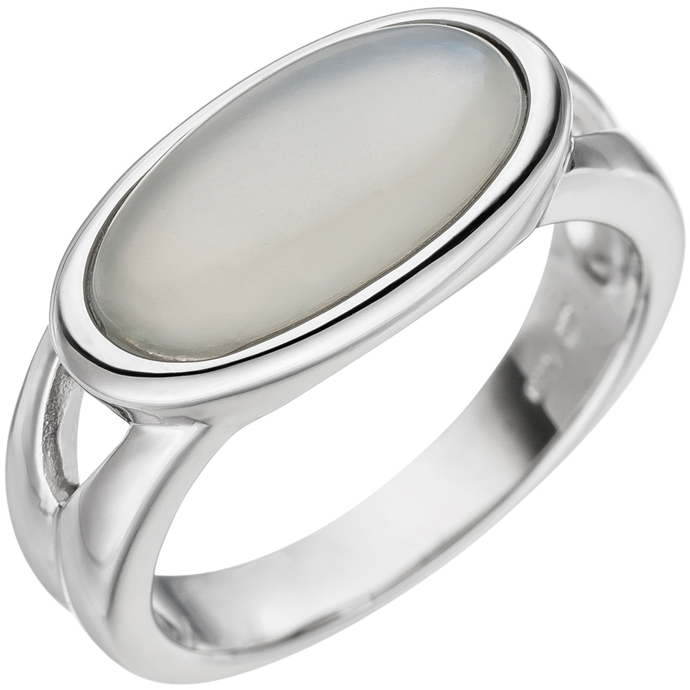 womens ring with real moonstone cabochon oval 585 gold