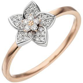 Ring Goldring mit 30 Diamanten Brillanten Blume Blüte 585 Gold Rotgold Weißgold