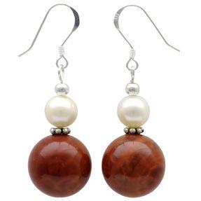 Ohrringe-aus-Feuer-Achat-und-Perlen