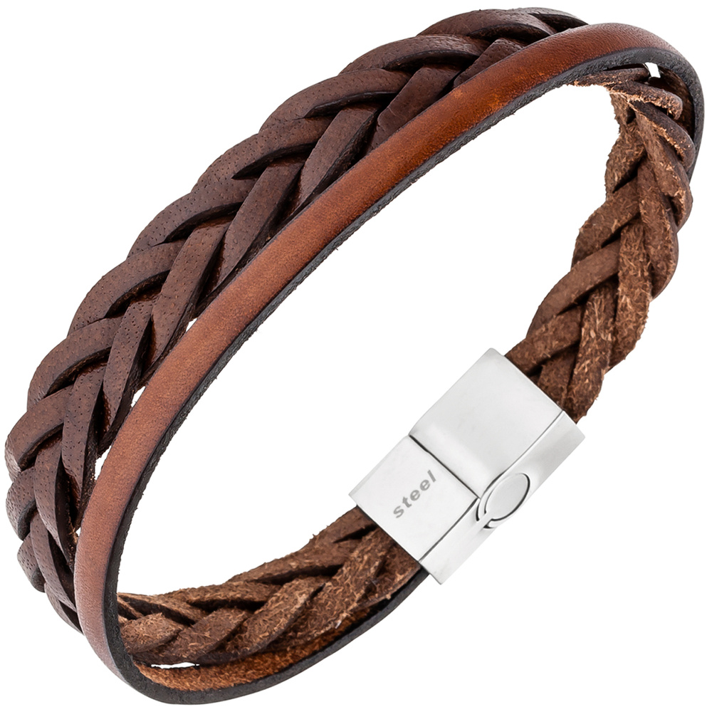 bracelet arm jewellery for men 2reihig leather brown