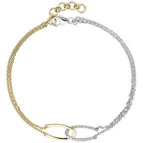 Armband Ankerkette, 18 Diamanten Brillanten, 2-reihig 585 Gold Gelbgold Weißgold