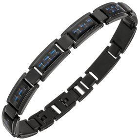 Armband Armschmuck aus Edelstahl schwarz lackiert blauen Carbon-Einlagen 21-22cm