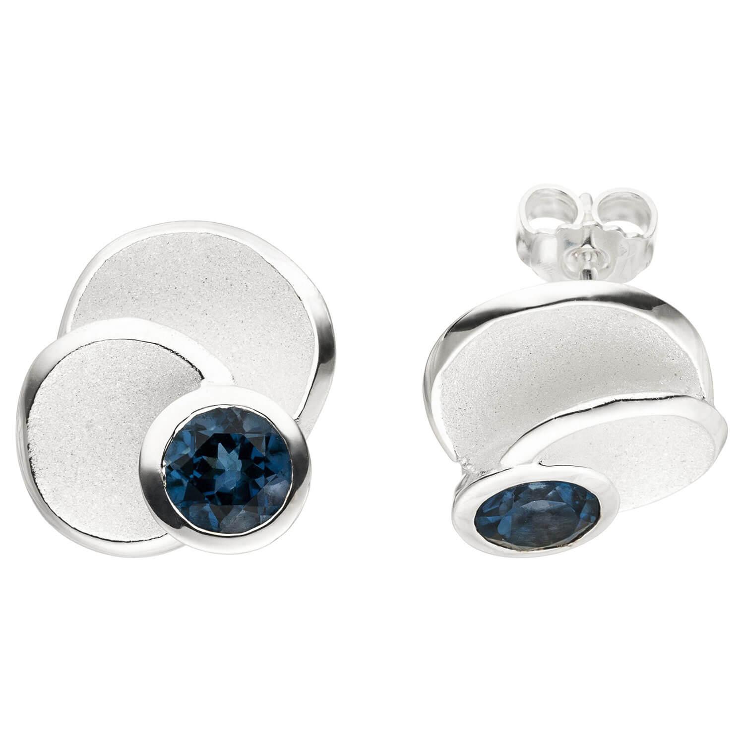 22,3 mm Damen Ring 925 Sterling Silber matt eismatt 1 Blautopas blau Breite ca