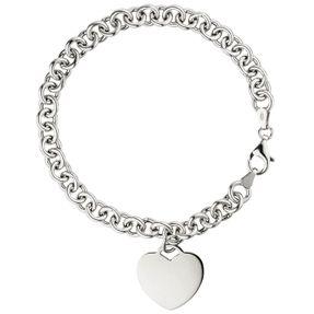 19-22cm Herz mit weißen Zirkonia 1,8mm Armband Armkette 925 Silber rhodiniert