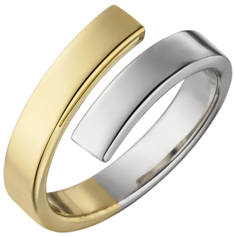 925 Silber gelbvergoldet Fingerschmuck Ring Damenring Spirale weiße Zirkonia