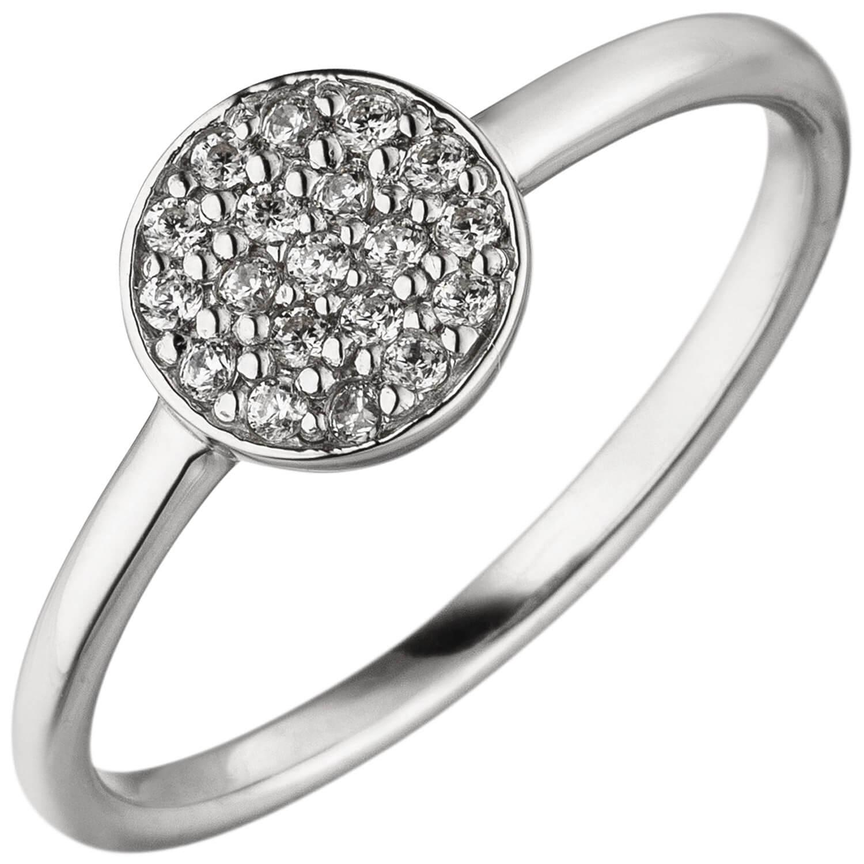 Ring Damenring mit Kreis 19 Zirkonia weiß 925 Silber Fingerring Fingerschmuck   Schmuck Krone
