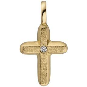 Anhänger Kreuz Diamant Brillant 585 Gold Gelbgold eismatt schlicht 15,4x8,5mm