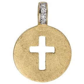 Anhänger Kreuz ausgestanzt im Kreis 585 Gold Gelbgold eismatt 4 Brillanten