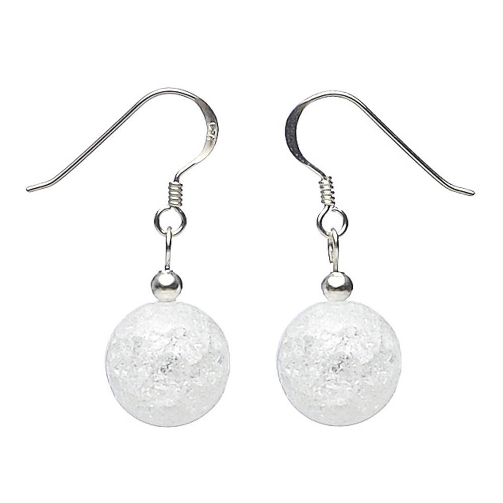 Perlen Bergkristall crashed Silber 925 Ohrringe Ohrhänger Rot Weiß mit Brisur