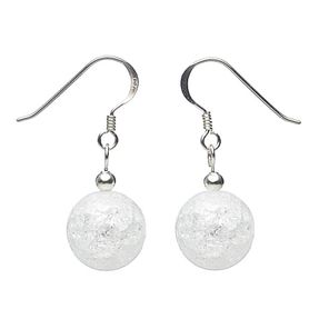 Ohrringe aus echtem Bergkristall & 925er Silber, Crack-Struktur, weiß