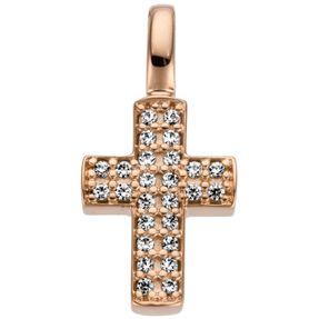 Anhänger Kreuz 15x7,4mm 585 Gold Rotgold mit 26 Diamanten Brillanten 0,08ct.
