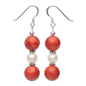 Ohrhänger aus Schaumkoralle Perlen und 925 Silber