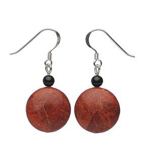 Ohrringe aus Koralle und Onyx
