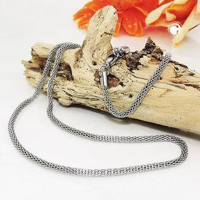 2,5mm Kette Collier Strumpfkette aus glänzendem Edelstahl Halsschmuck, 50cm Bild 2