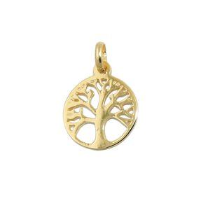 Anhänger Halsschmuck 12mm Baum des Lebens Lebensbaum, rund, 375 Gold Gelbgold