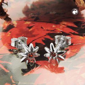 Ohrstecker-Blume-rot-orange-Zirkonia-925-Silber