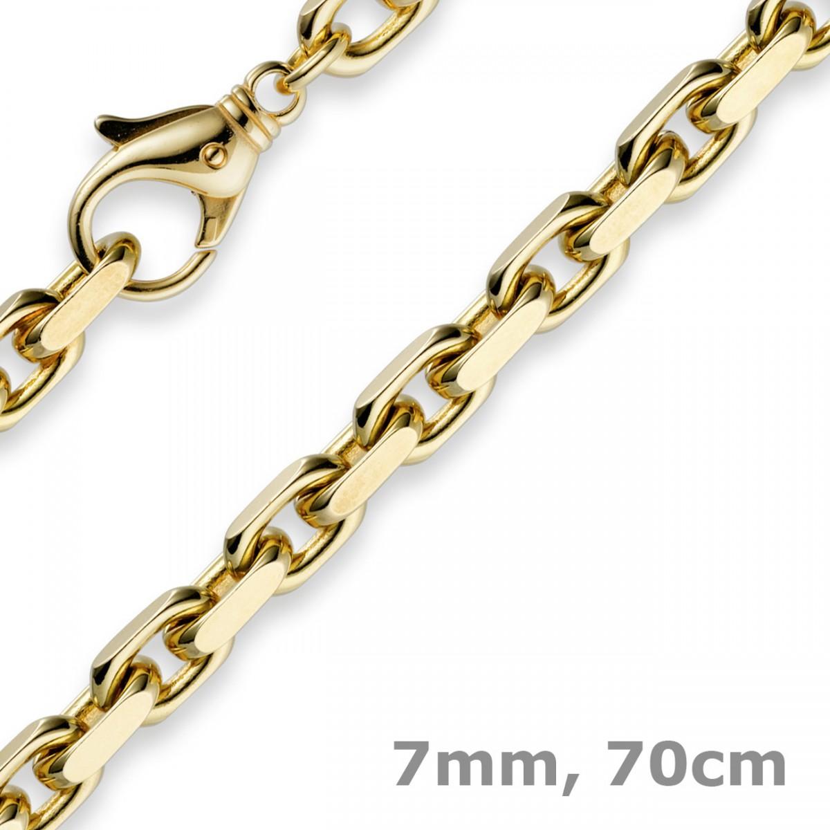 Kette gelbgold  7mm Kette Collier Ankerkette aus 585 Gold Gelbgold, 70cm, für Herren