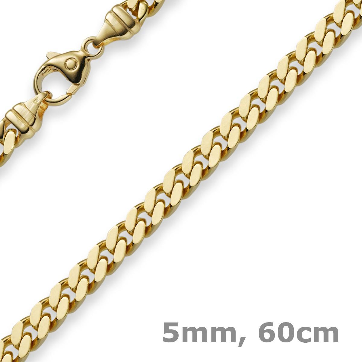 kauf verkauf Kaufen Sie Authentic sehr günstig 5mm Panzerkette Kette Collier aus 585 Gold Gelbgold, Goldkette, 60cm