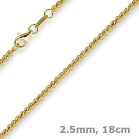 2-5mm-Armband-Kugelkette-585-Gelbgold-18cm