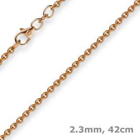 2,3mm Rund-Ankerkette Kette Collier, 585 Gold Rotgold Goldkette, 42cm