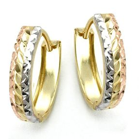 Creolen 12x3mm Ohrringe diamantiert rhodiniert, 375 Gelbgold Rotgold vergoldet