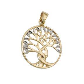 Anhänger-Lebensbaum-weiße-Blätter-375-Gelbgold
