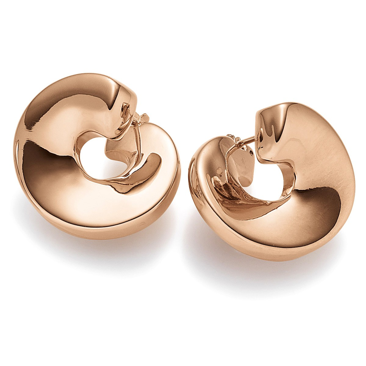earrings spiral twister earrings from 585 gold rose gold shiny ladies ebay. Black Bedroom Furniture Sets. Home Design Ideas