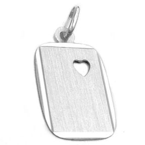 Anhänger Halsschmuck, viereckige Gravurplatte mit Ausschnitt in Herzform, 925 Silber