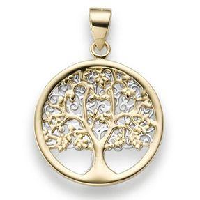 Anhänger Amulett Lebensbaum 585 Gold gelb/weiß bicolor 25x17,5mm Goldanhänger Vorschau