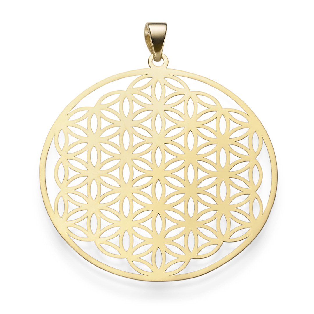 pendant life flower with ornament 1 916in 585 gold yellow