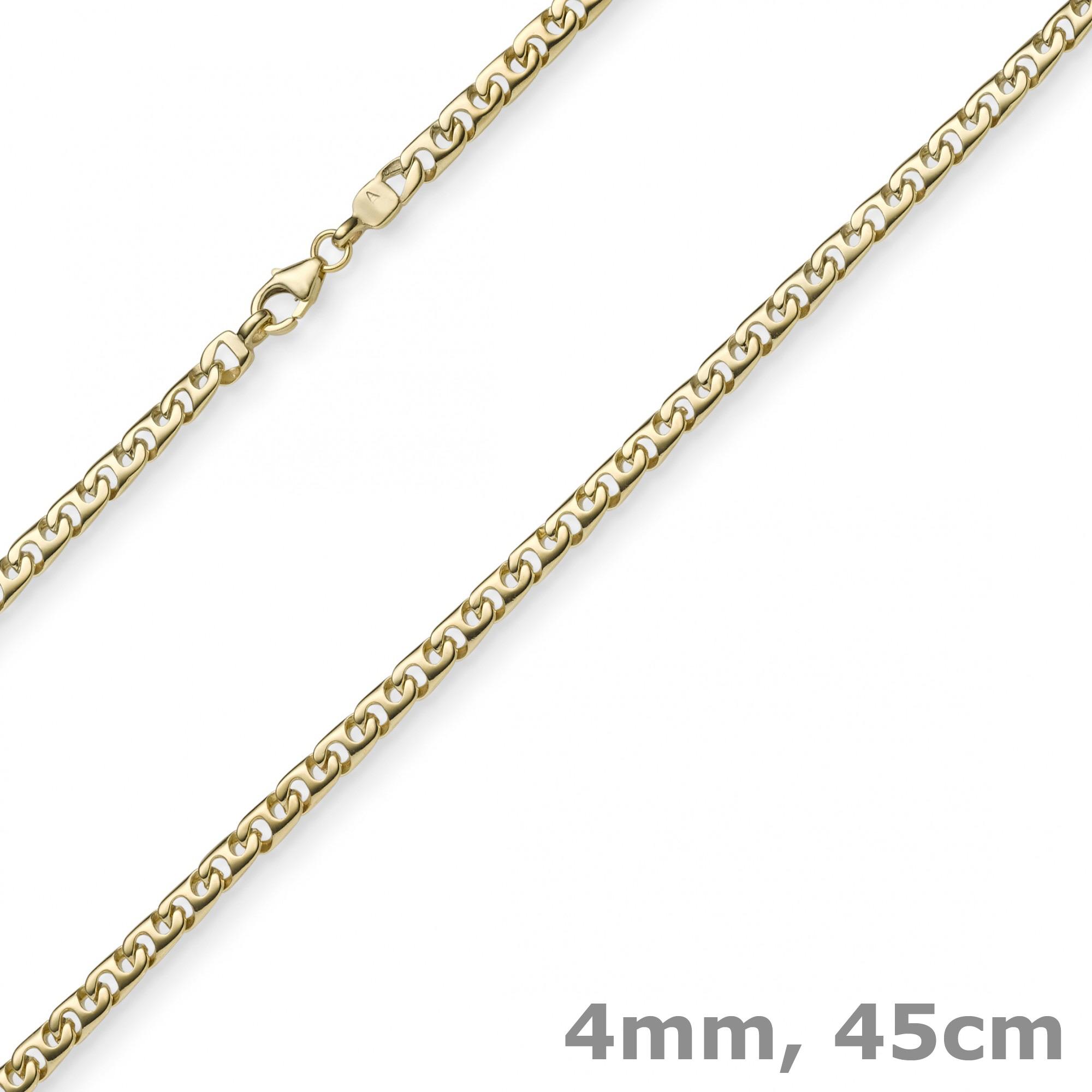 4mm phantasiekette kette collier halskette 585 gold gelbgold gl nzend 45cm. Black Bedroom Furniture Sets. Home Design Ideas
