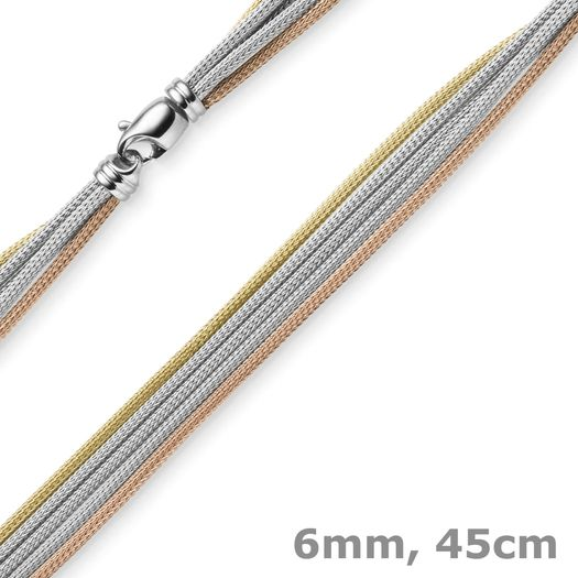 6mm-Strickkette-5-reihig-585-Gold-tricolor-45cm