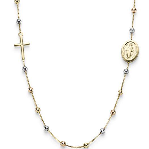 Rosenkranz-Venezia-Kreuz-und-Amulett-585-Gold-45cm