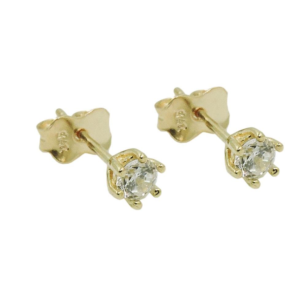 Paar ohrstecker stecker ohrschmuck 4mm wei e zirkonia - 375 gold ...