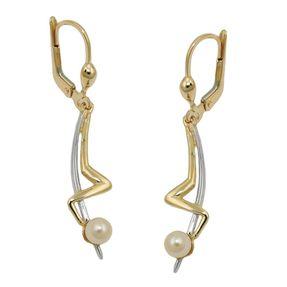 Ohrhänger-Zickzack-Muster-mit-Perlen-375-Gold-bicolor