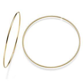 Paar große Creolen XXL Ohrringe 585 Gold Gelbgold 1,5mm Ø75mm rund glänzend