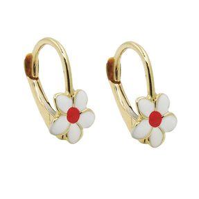 Ohrringe-Blümchen-mit-Brisur-weiß-rot-375-Gold