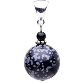 Anhänger aus Schneeflocken-Obsidian und Onyx