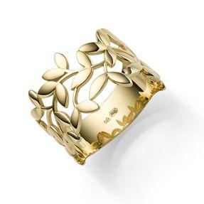 Ring Olivenzweig aus 585 Gold Gelbgold Breite 12mm glänzend Fingerring Damen