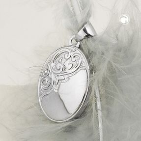 Medaillon-mit-Muster-Blume-925-Silber-oval