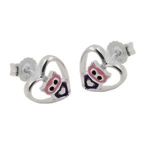 Ohrstecker Ohrringe, kleine Eule im Herz, lila lackiert, 925 Silber