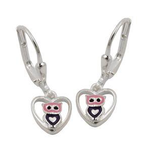 Brisur Ohrringe Ohrhänger, kleine Eule im Herz, lackiert, 925 Silber