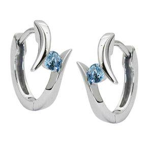 Ohrringe Creolen 14x8mm Ohrschmuck, hellblauer Kristall, 925 Silber