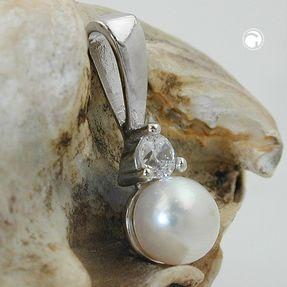 Anhänger-Süßwasser-Perle-Zirkonia-925-Silber