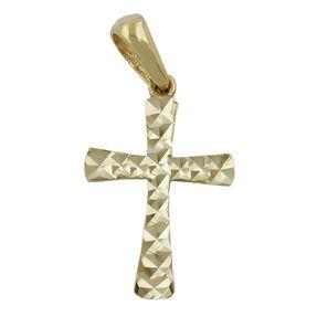 Anhänger-Kreuz-375-Gold-diamantiert-15x11mm