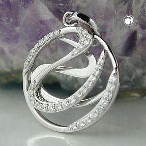 Anhänger-Kreis-mit-Muster-zweilagig-925-Silber